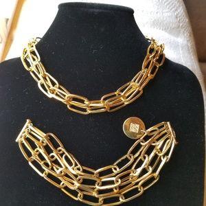Estee Lauder Gold Chain Necklace and Bracelet Set